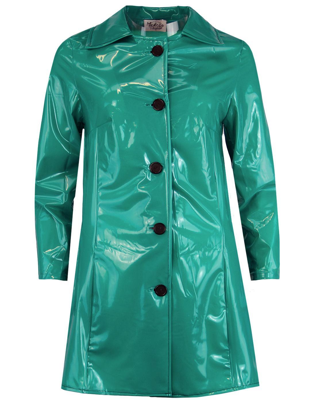 madcap england jackie 60s mod pvc raincoat green