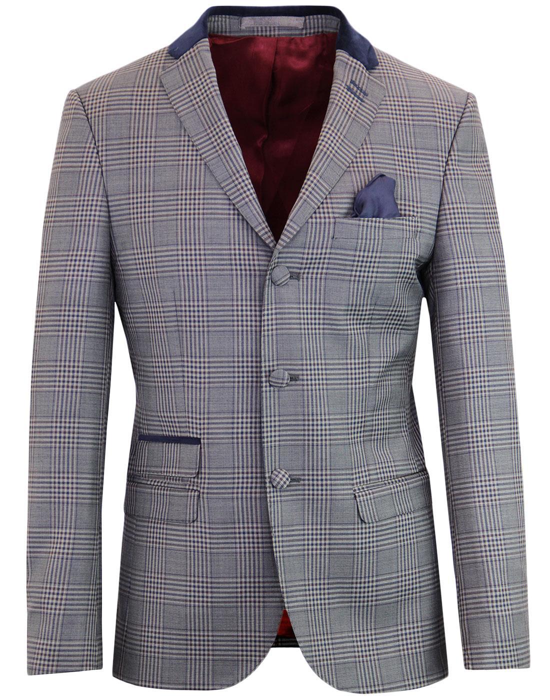 madcap england pow check mod velvet collar blazer