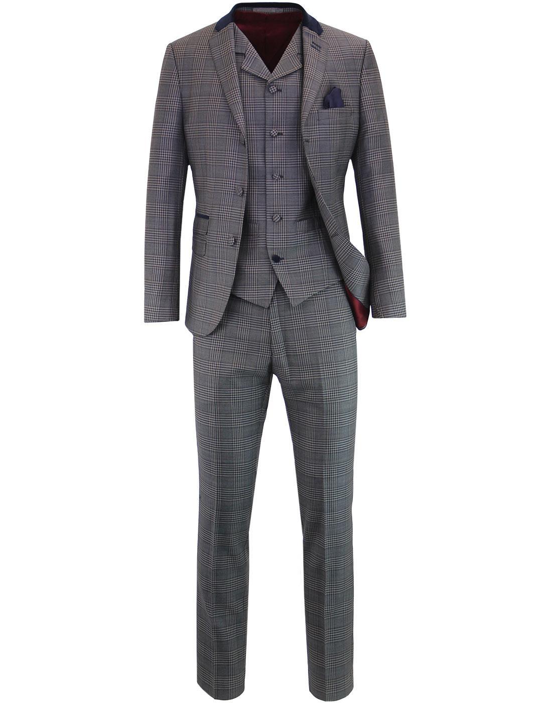 MADCAP ENGLAND POW Check Velvet Collar Mod Suit