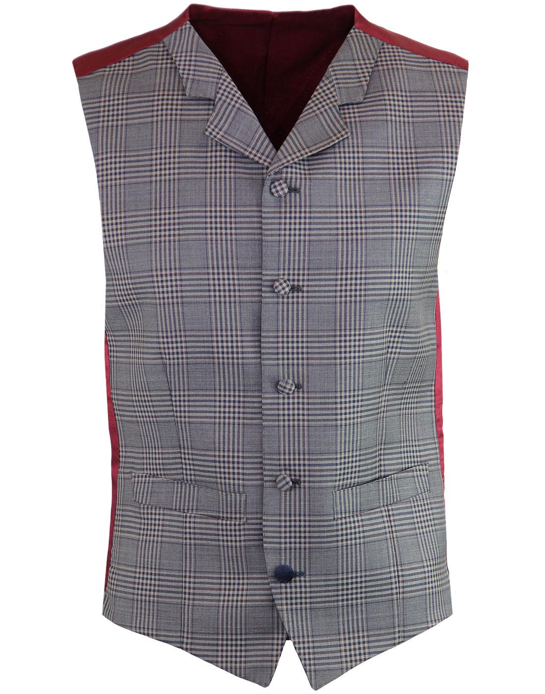 madcap england mod grey check lapel waistcoat