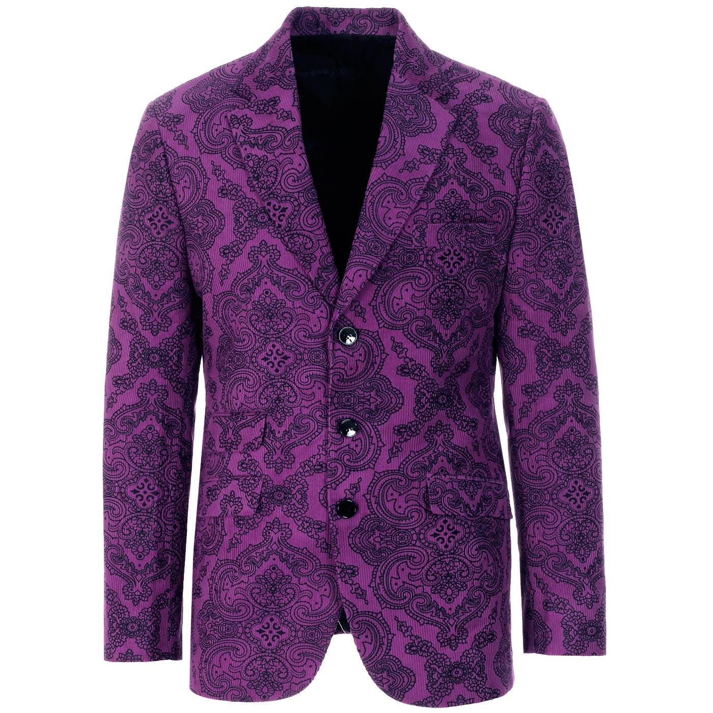 Madcap England Men's 1960s Psychedelic Paisley Cord Blazer Jacket in Grape