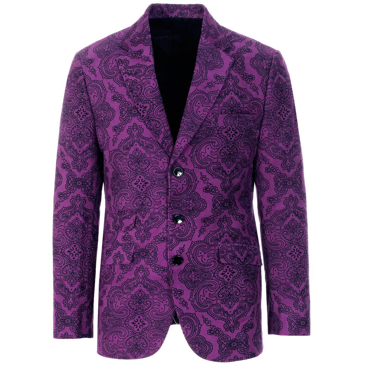 Madcap England Men's 1960s Psychedelic Paisley Cord Blazer Jacket in Grape