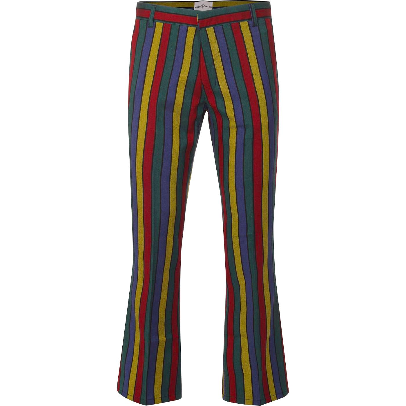 Madcap England Hendrix Stripe Retro 60s Psychedelic Bootcut Flared Trousers