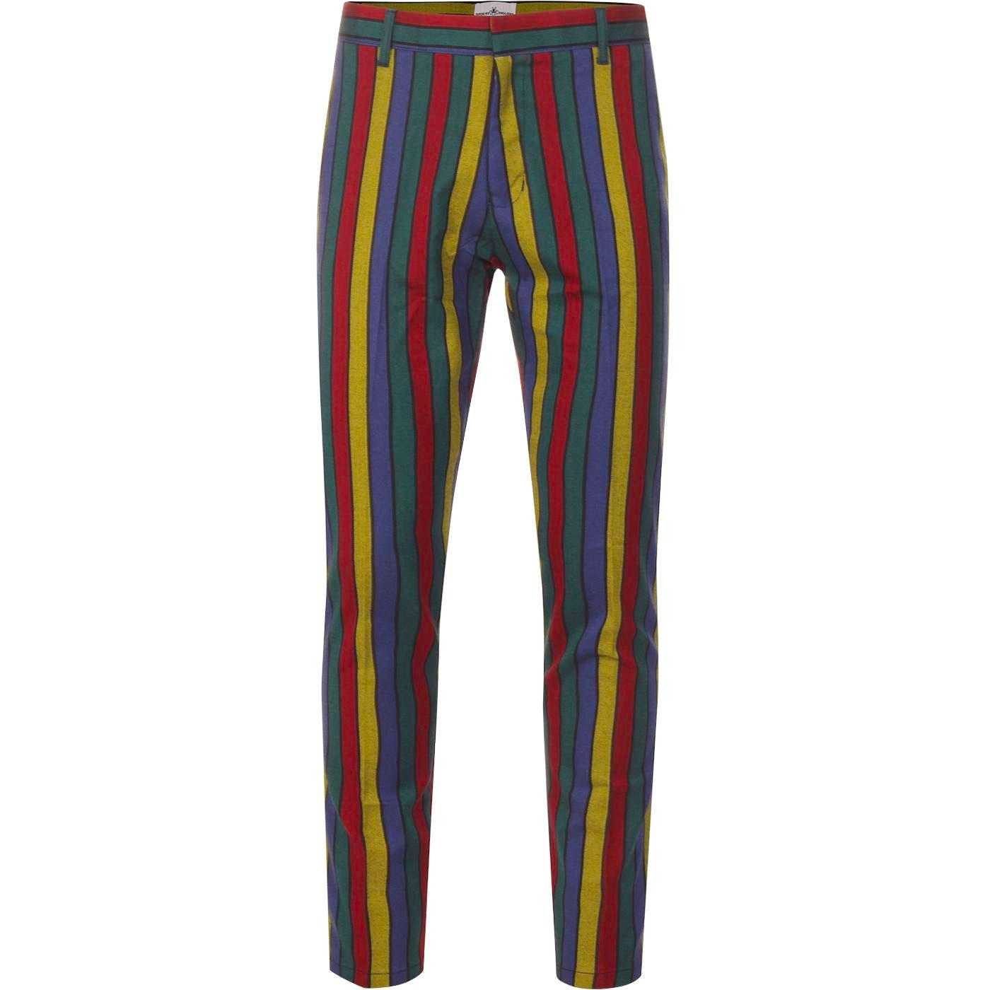 Madcap England Hendrix Stripe Retro 60s Psychedelic Slim Trousers