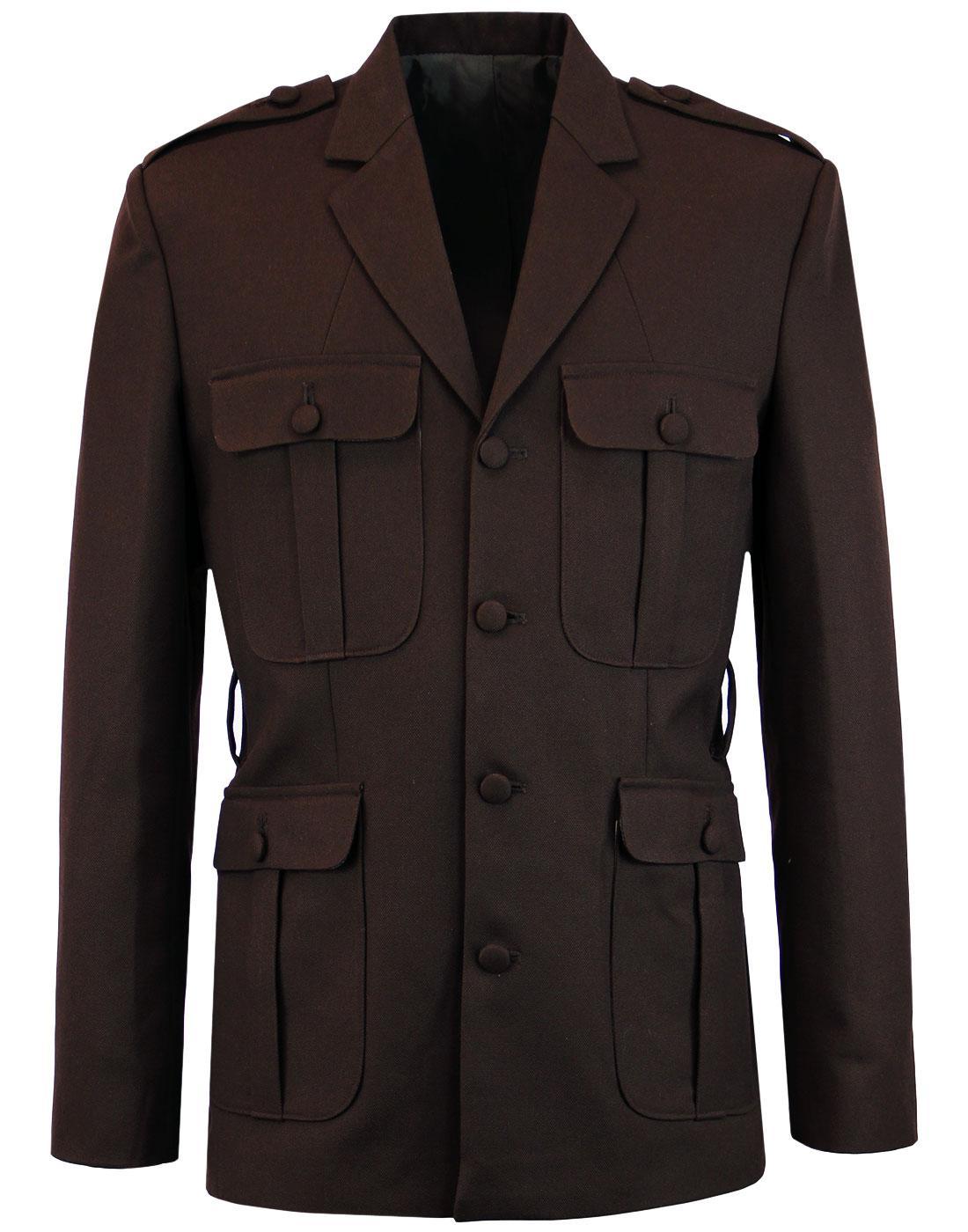 MADCAP ENGLAND 60s Mod Hopsack Safari Jacket BROWN
