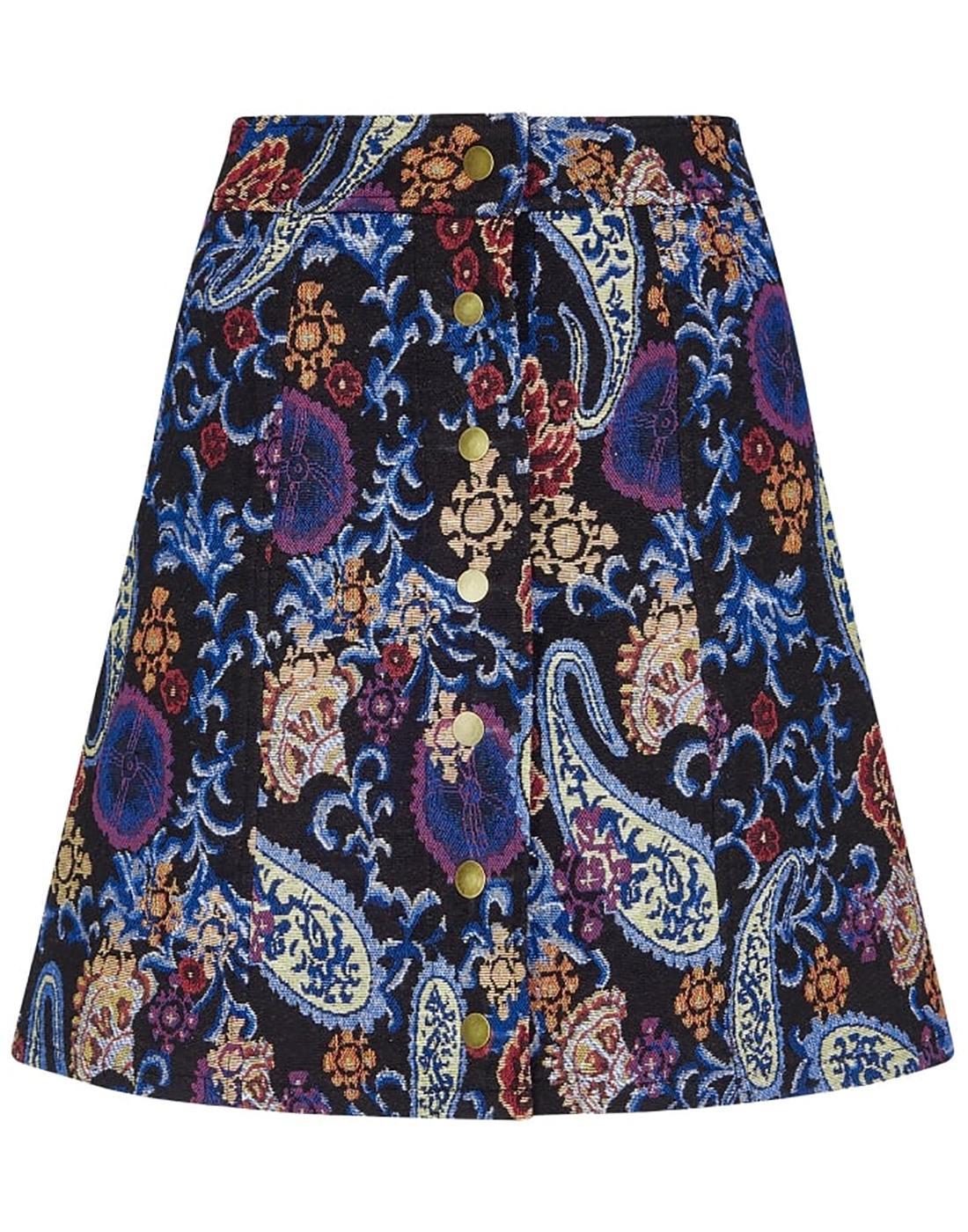 India BRIGHT & BEAUTIFUL 60s Paisley Mini Skirt