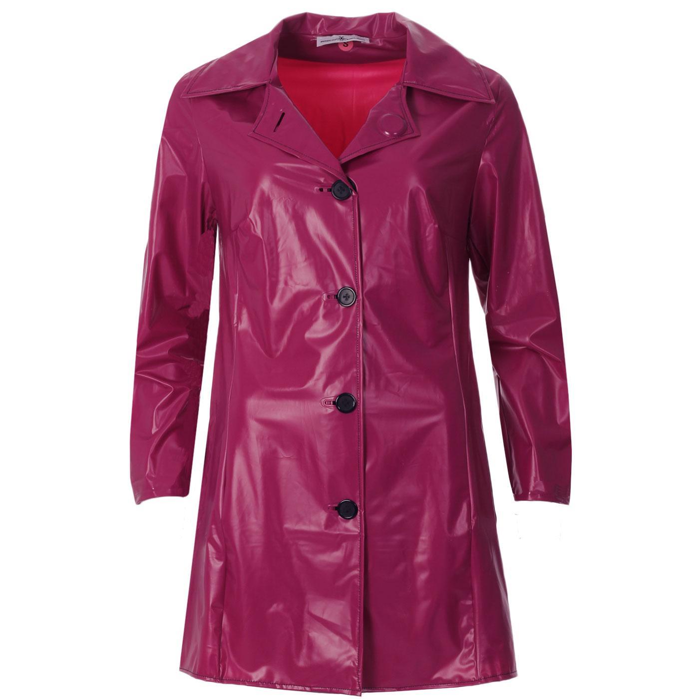 Madcap England Jackie Women's 1960s Mod PVC Raincoat in Maroon Pearl