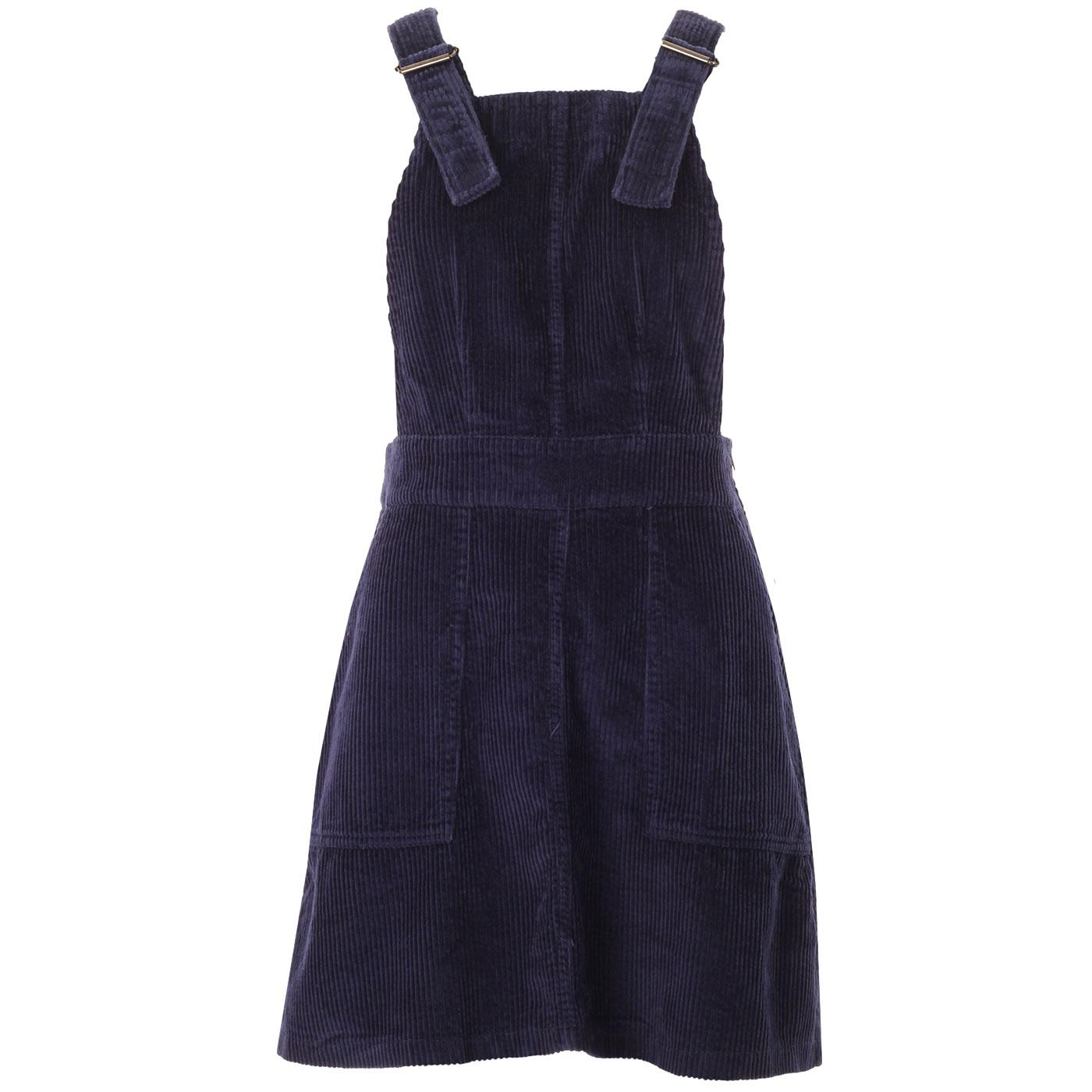 Madcap England Marlo Retro 1960s Mod Jumbo Cord Pinafore Dress in Navy