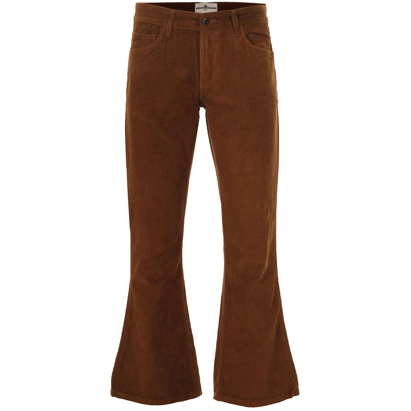 Madcap England Killer Retro 1970s Cord Flares in Dark Tan