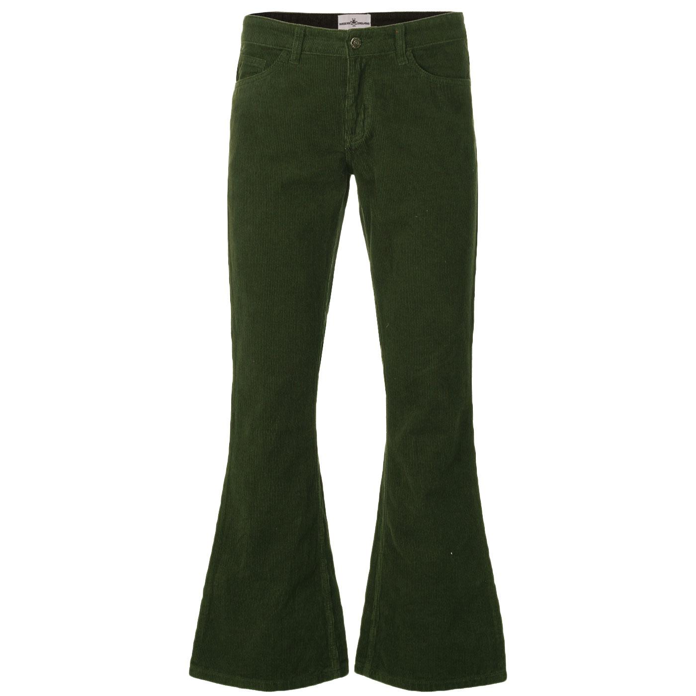 Madcap England Retro 70s Cord Killer Flares in Forest Green