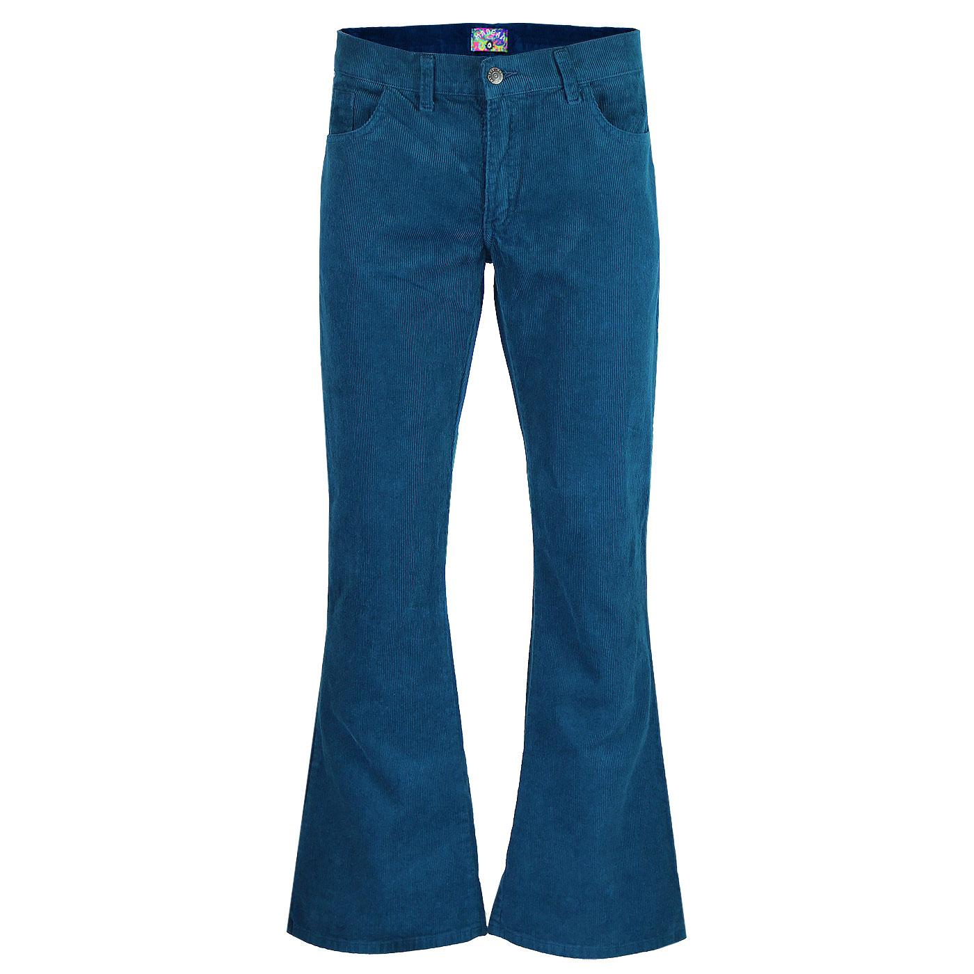 Madcap England Killer Men's Retro 1970s Cord Flares in Ink Blue