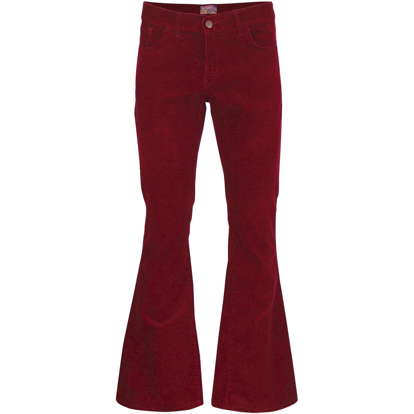 a37f3f9b Killer Men's Retro 1970s Needle Cord Flared Trousers in Tawny Port