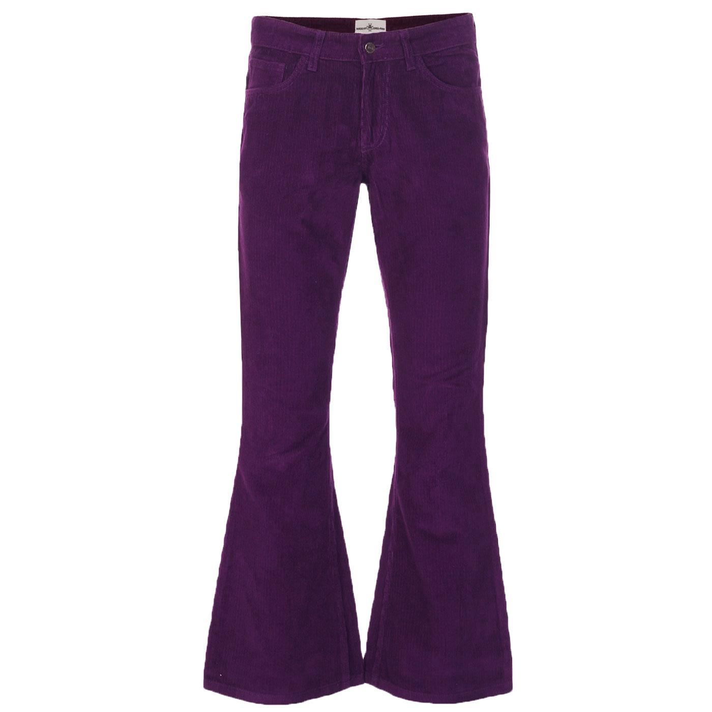 Madcap England Retro 70s Cord Killer Flares in Imperial Purple