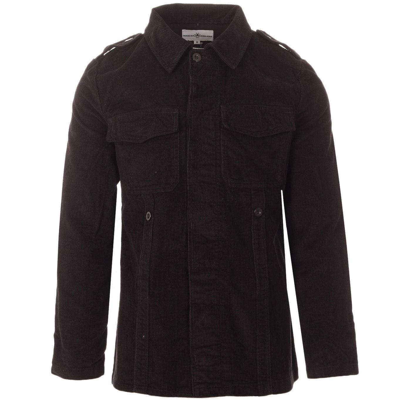 Madcap England Lennon Retro Mod Cord Military Shirt Jacket in Black