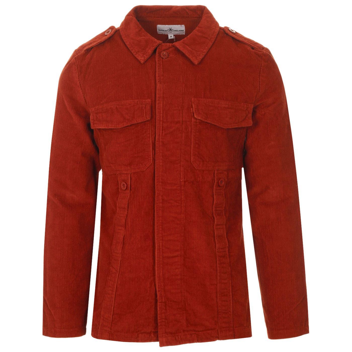 Madcap England Lennon Men's Retro Mod Cord Overshirt Jacket in Rust