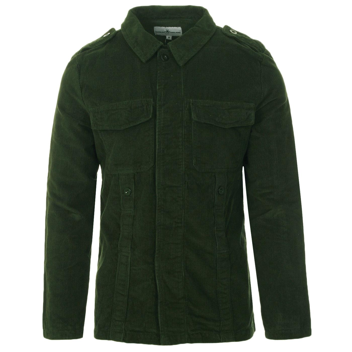 Madcap England Lennon Men's 60s Mod Cord Overshirt Jacket in Deep Forest