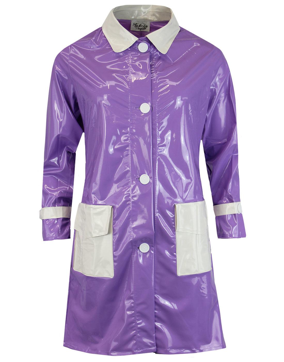 madcap england robin 60s mod pvc raincoat violet