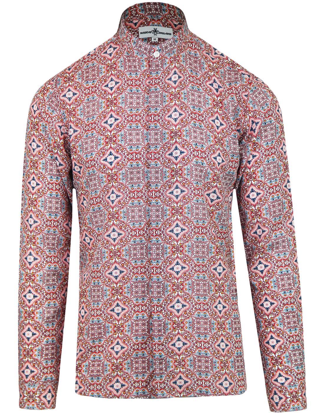 madcap england lotus 60s mod floral grandad shirt