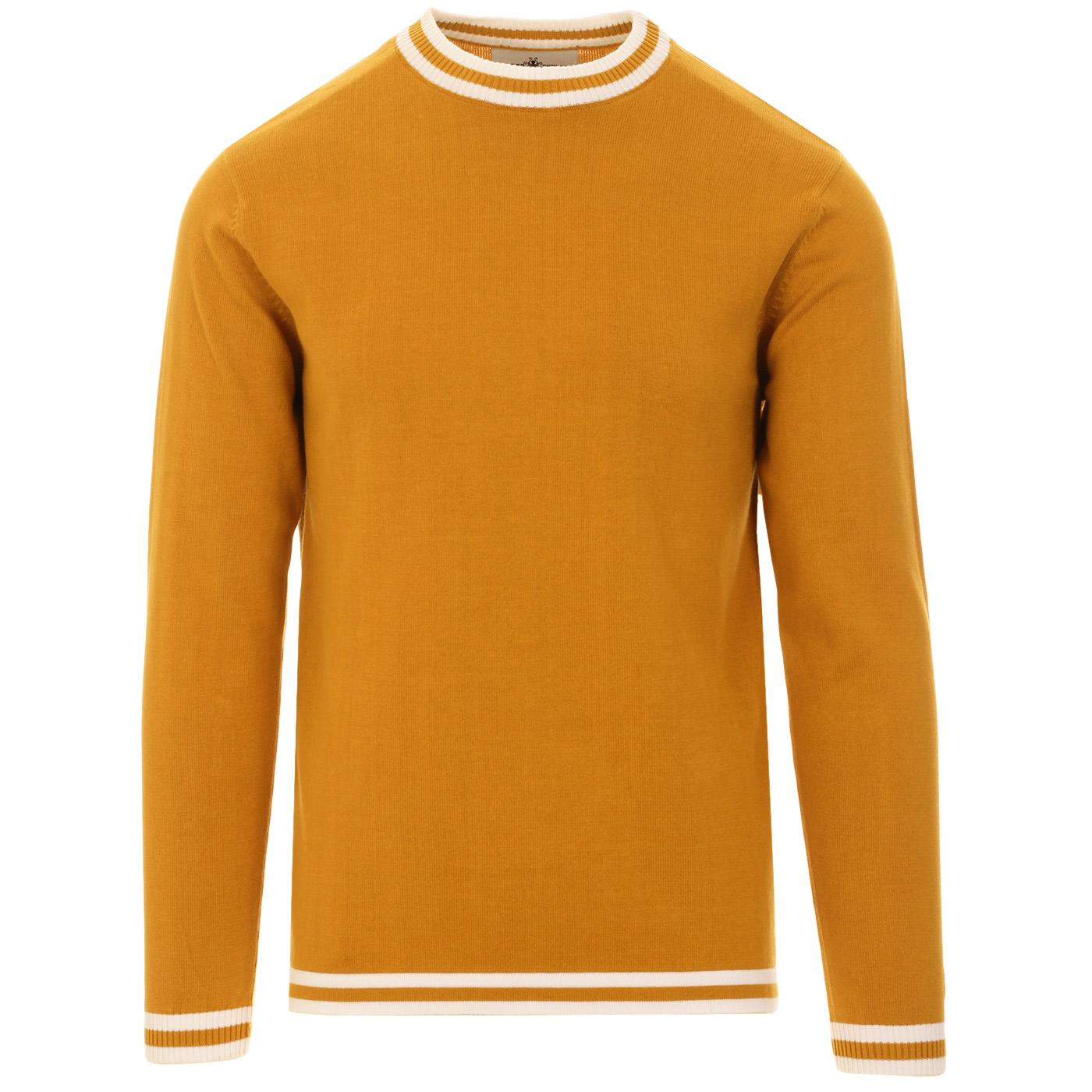 Madcap England Long Sleeve 60s Mod Moon Tipped Knit Jumper in Harvest Gold