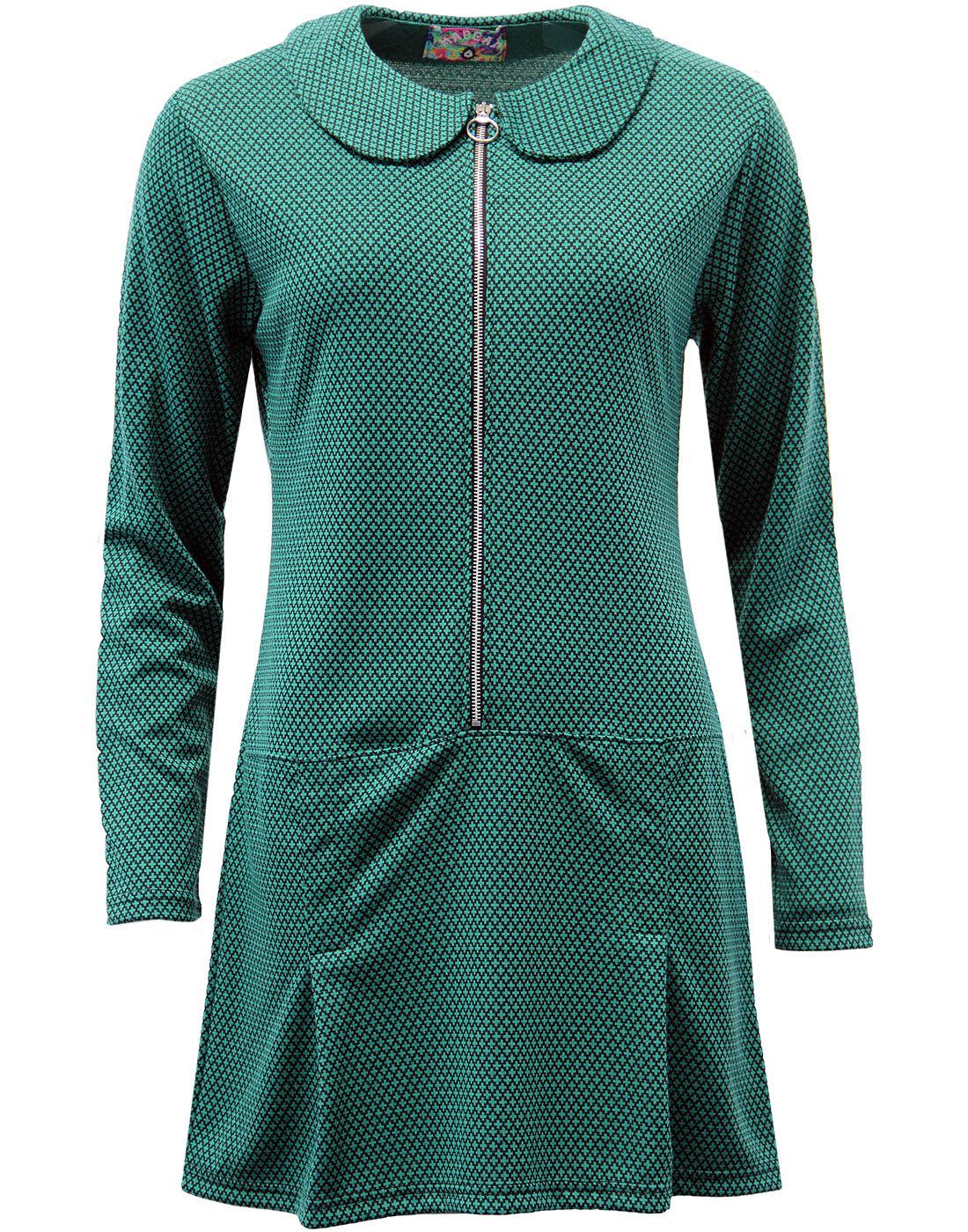 madcap england mayfair mod ring zip dress green
