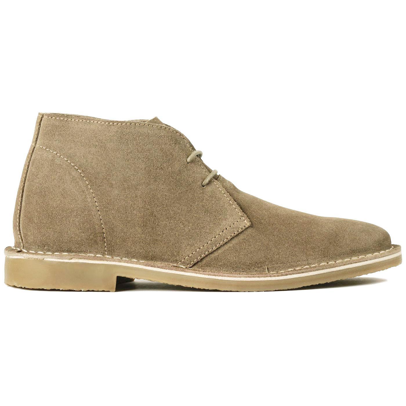 Madcap England Meaden Men's 1960s Mod Suede Desert Boots in Brown