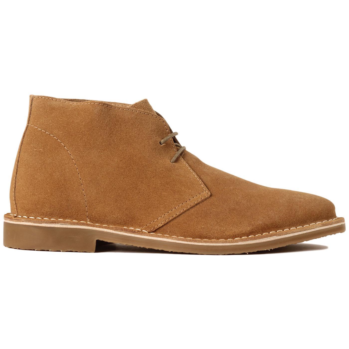 Madcap England Meaden Men's 1960s Mod Desert Boots in Golden Suede