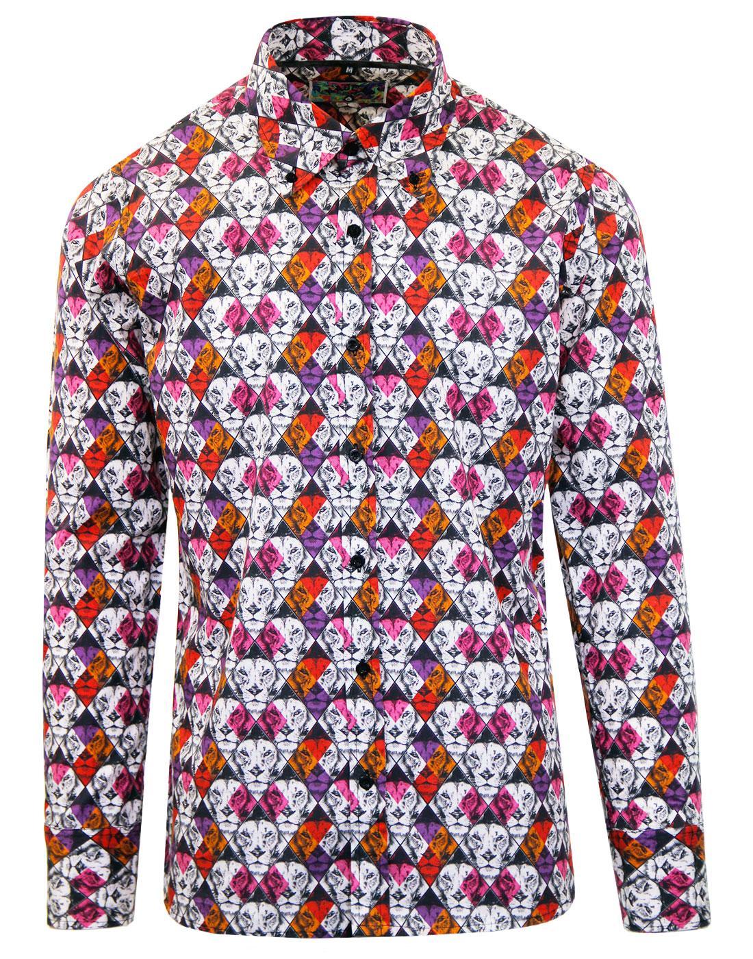 madcap england king retro mod lion geo print shirt