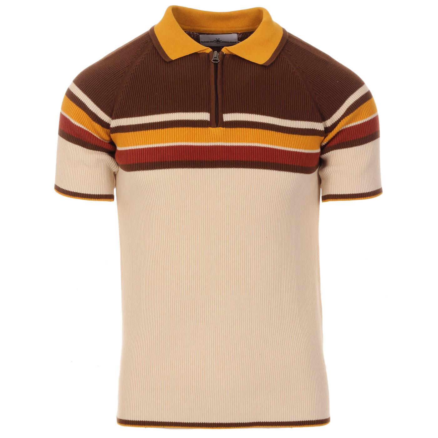 Madcap England Meteor Retro 70s Mod Ribbed Stripe Panel Polo Shirt in Birch