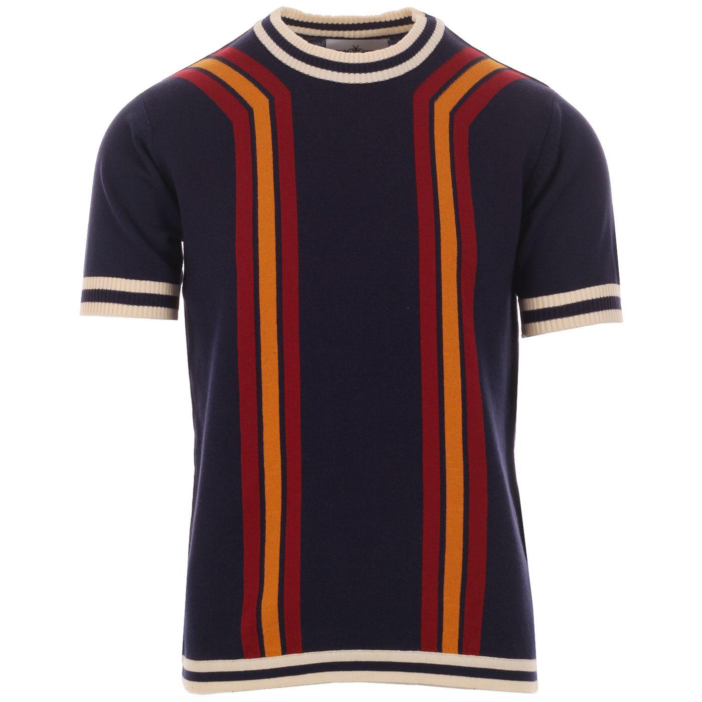Madcap England Modernista Retro 1970s Waffle Texture Contoured Stripe Knit Tee in Eclipse