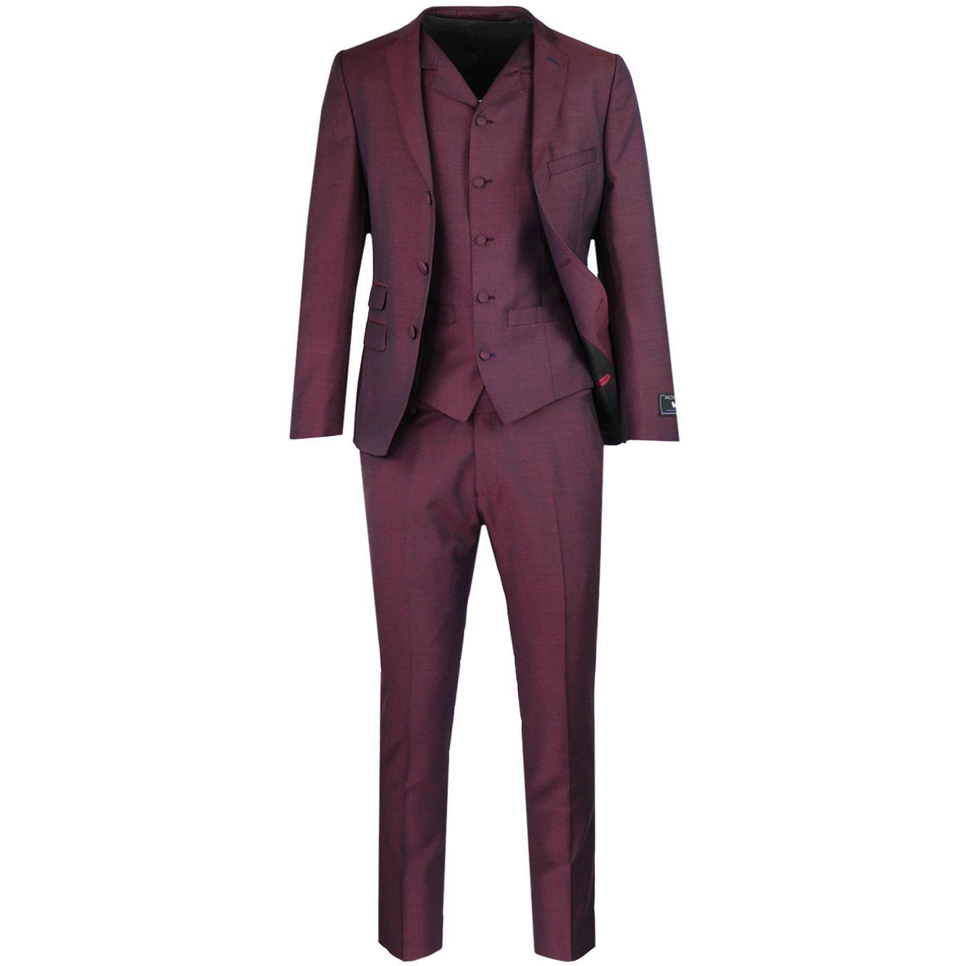 MADCAP ENGLAND 60s Mod Mohair Suit Burgundy Tonic