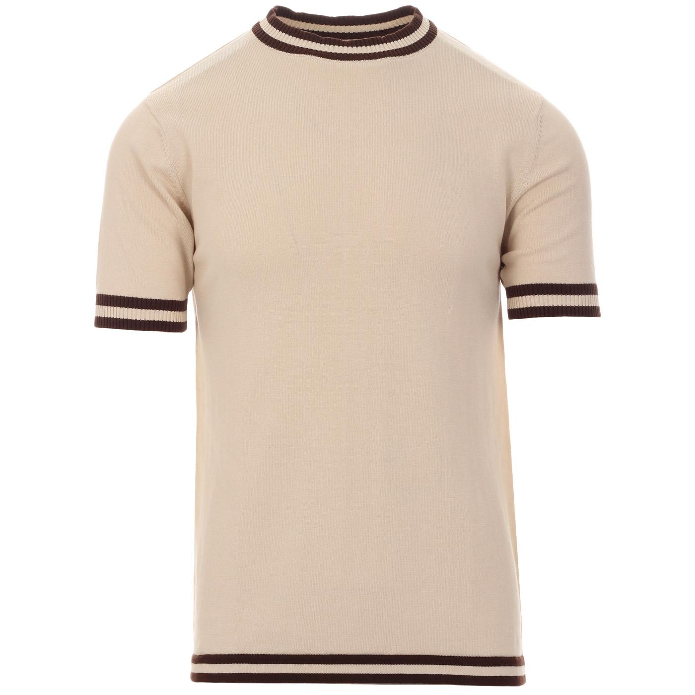 Madcap England Moon Retro Mod Knitted Tipped Tee in Birch