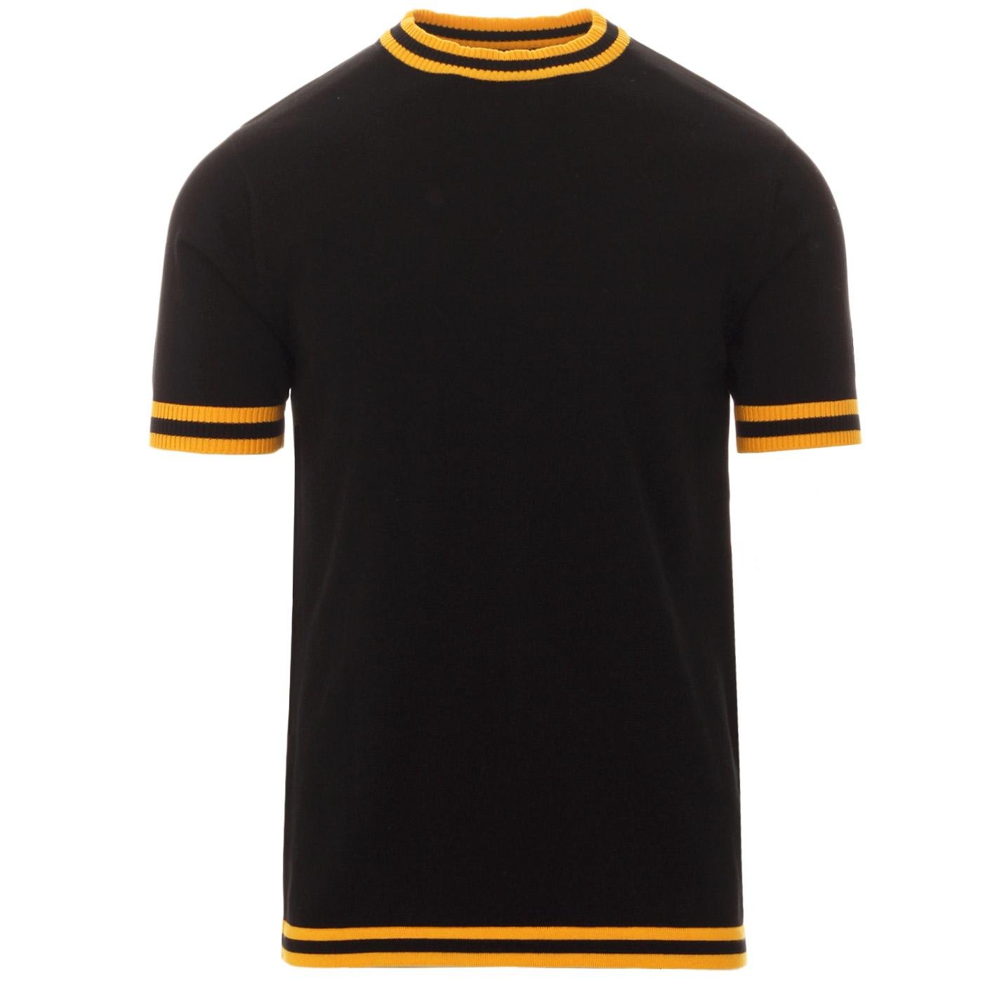 Madcap England Moon 60s Mod Tipped Knitted Tee in Black with Citrus