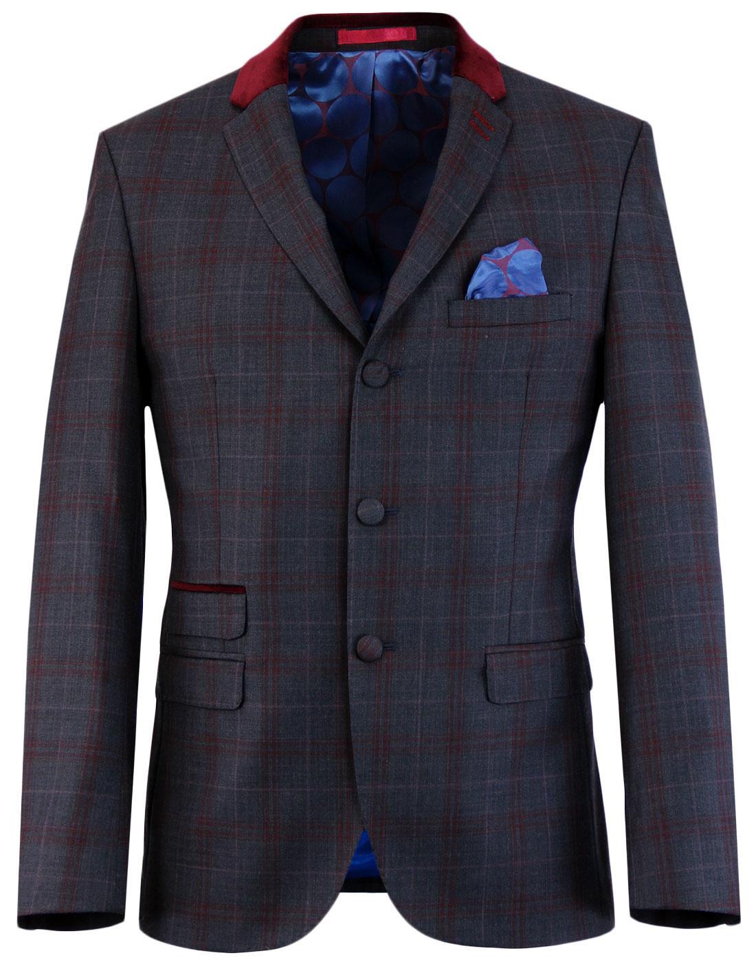madcap england mod check velvet collar suit jacket