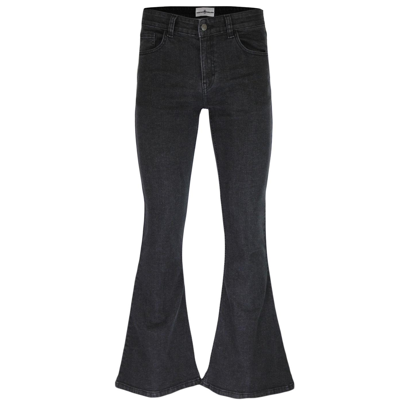 Madcap England New Rock Stretch Retro 1970s Denim Bellbottom Flares in Black Stonewash