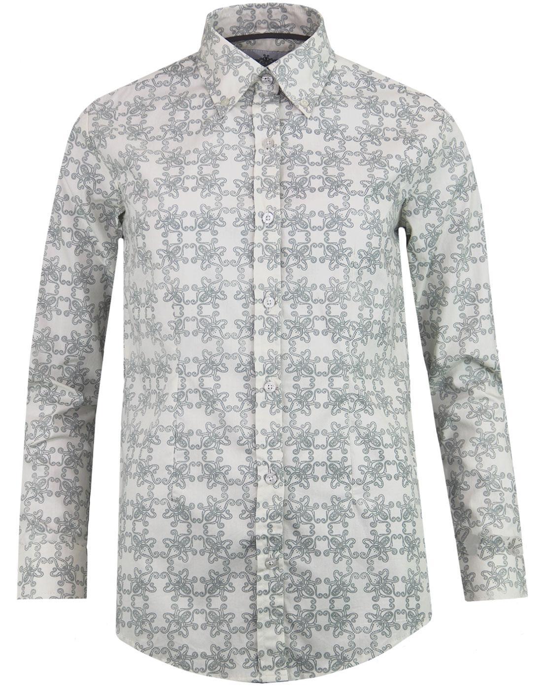 madcap england octavia octopus print shirt grey
