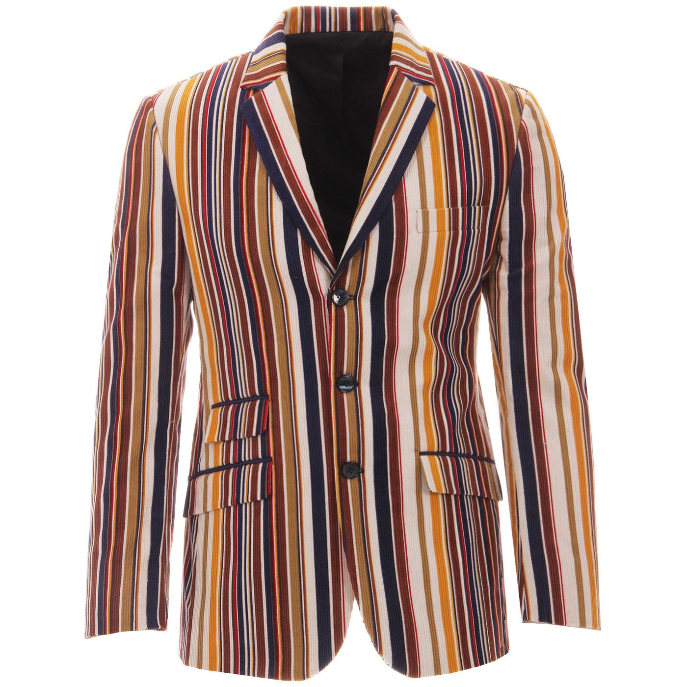 Madcap England Offbeat Cord Stripe 60s Mod Boating Blazer