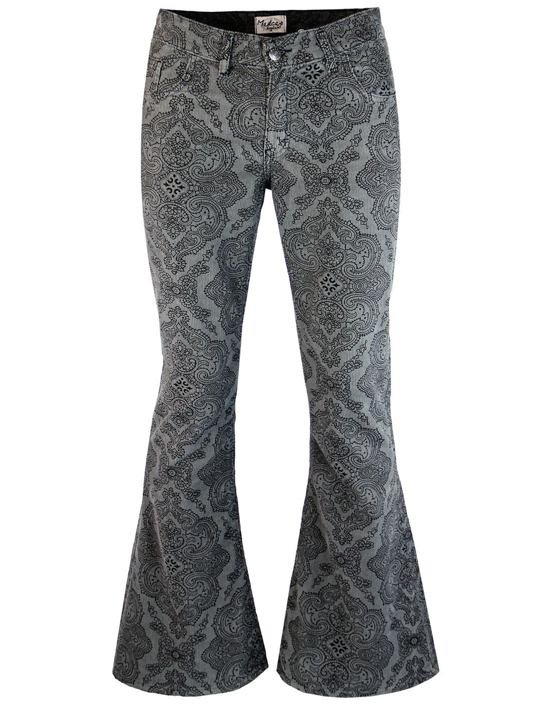 madcap england paisley rave bellbottom flares grey