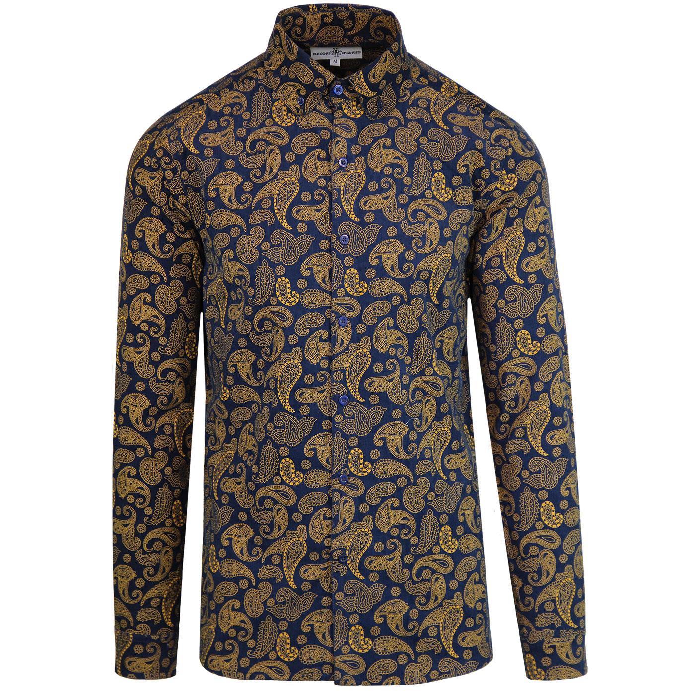 Madcap England Kinfauns 1960s Mod Cord Paisley penny Collar shirt in Navy