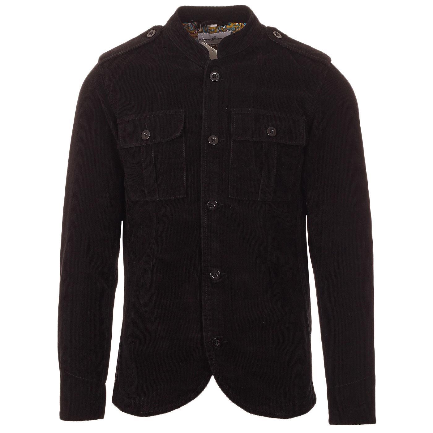 Madcap England Pepper Men's 60s Mod Cord Tunic Jacket in Black