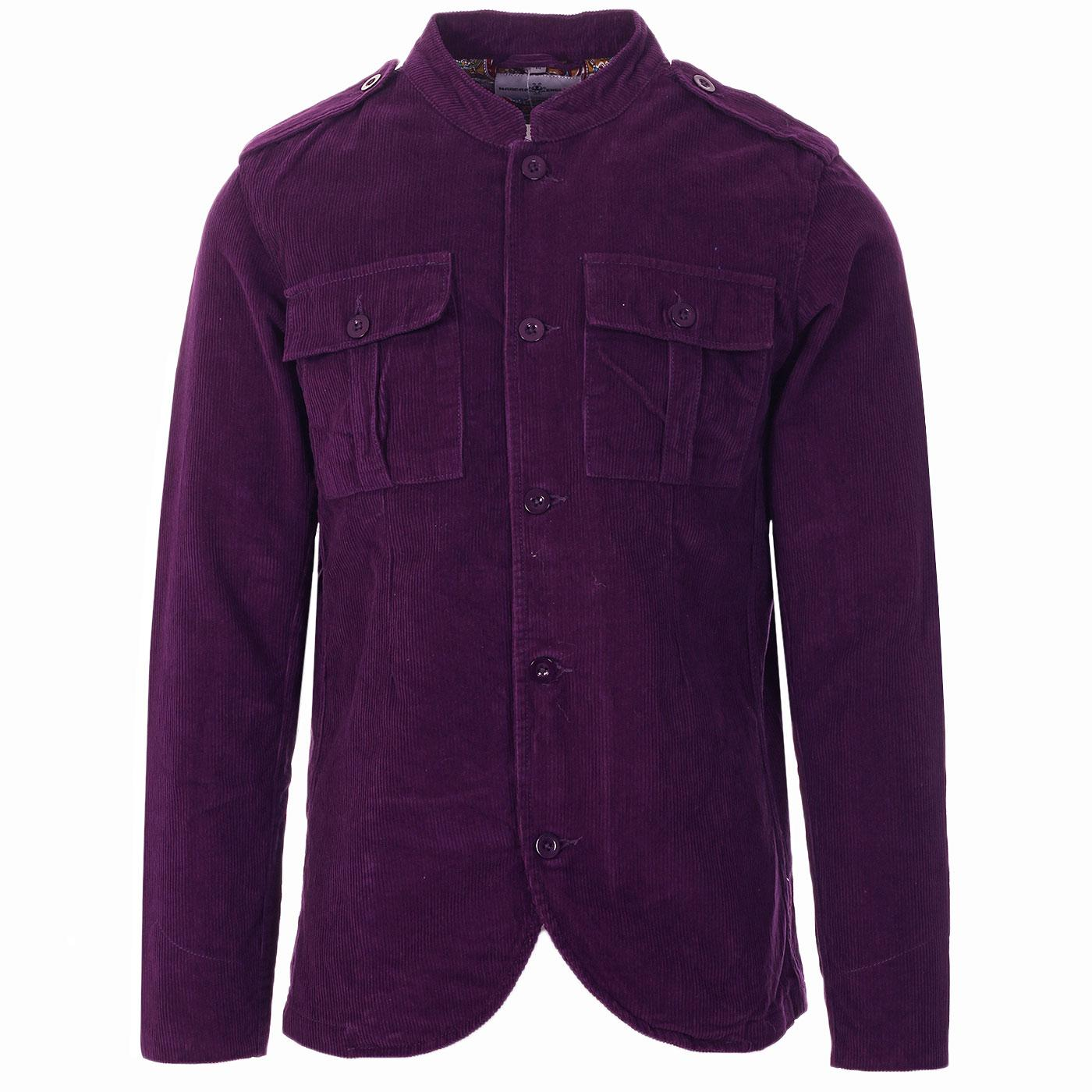 Madcap England Pepper Men's 60s Mod Cord Tunic Jacket in Imperial Purple
