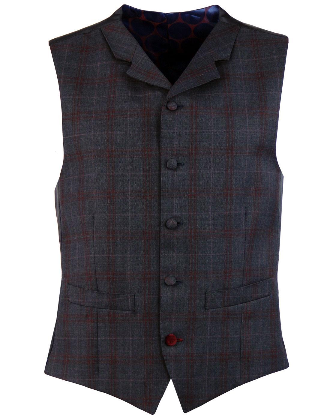 madcap england check high fasten lapel waistcoat