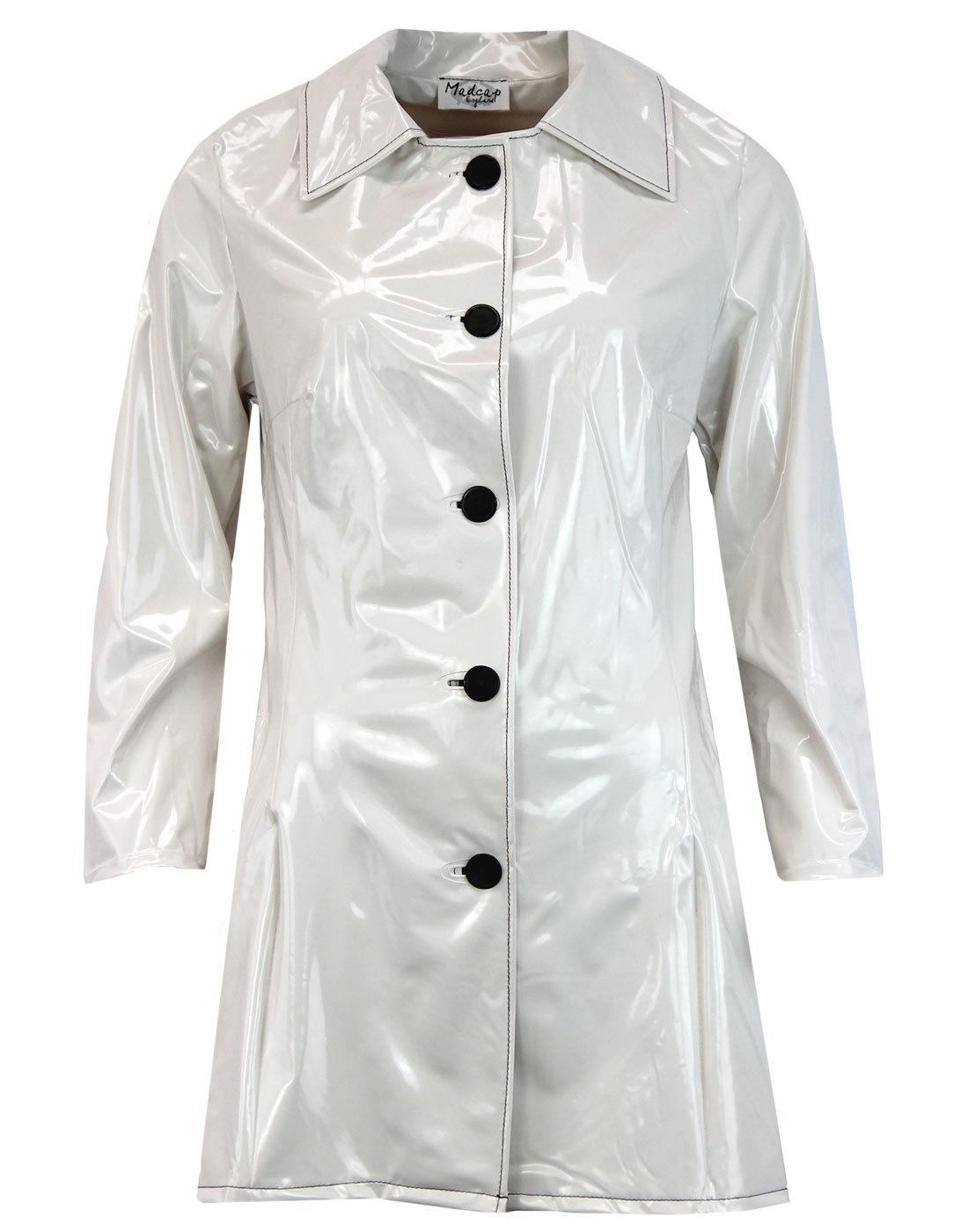 madcap england jackie 60s mod pvc raincoat white
