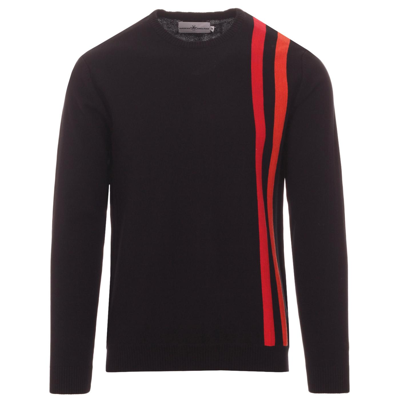 Madcap England Action 60s Mod Pop Art Racing Stripe Jumper in Black with Red and Orange stripes