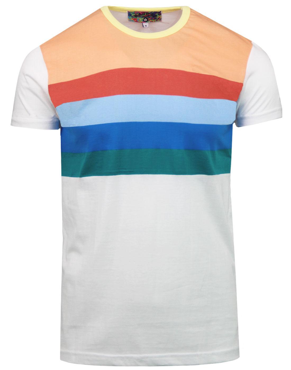 madcap england titan retro 70s rainbow stripe tee