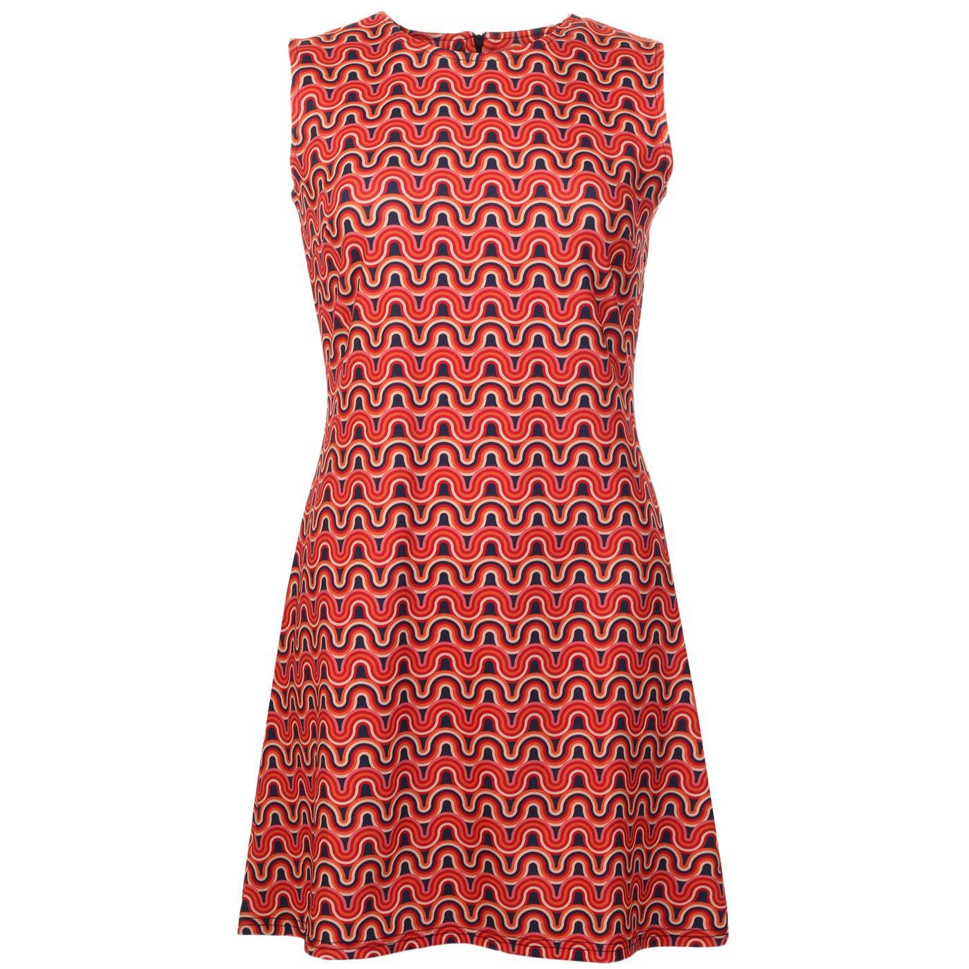 Madcap England Daytripper Retro 60s Rainbow Wavy Lines Sleeveless Shift Dress
