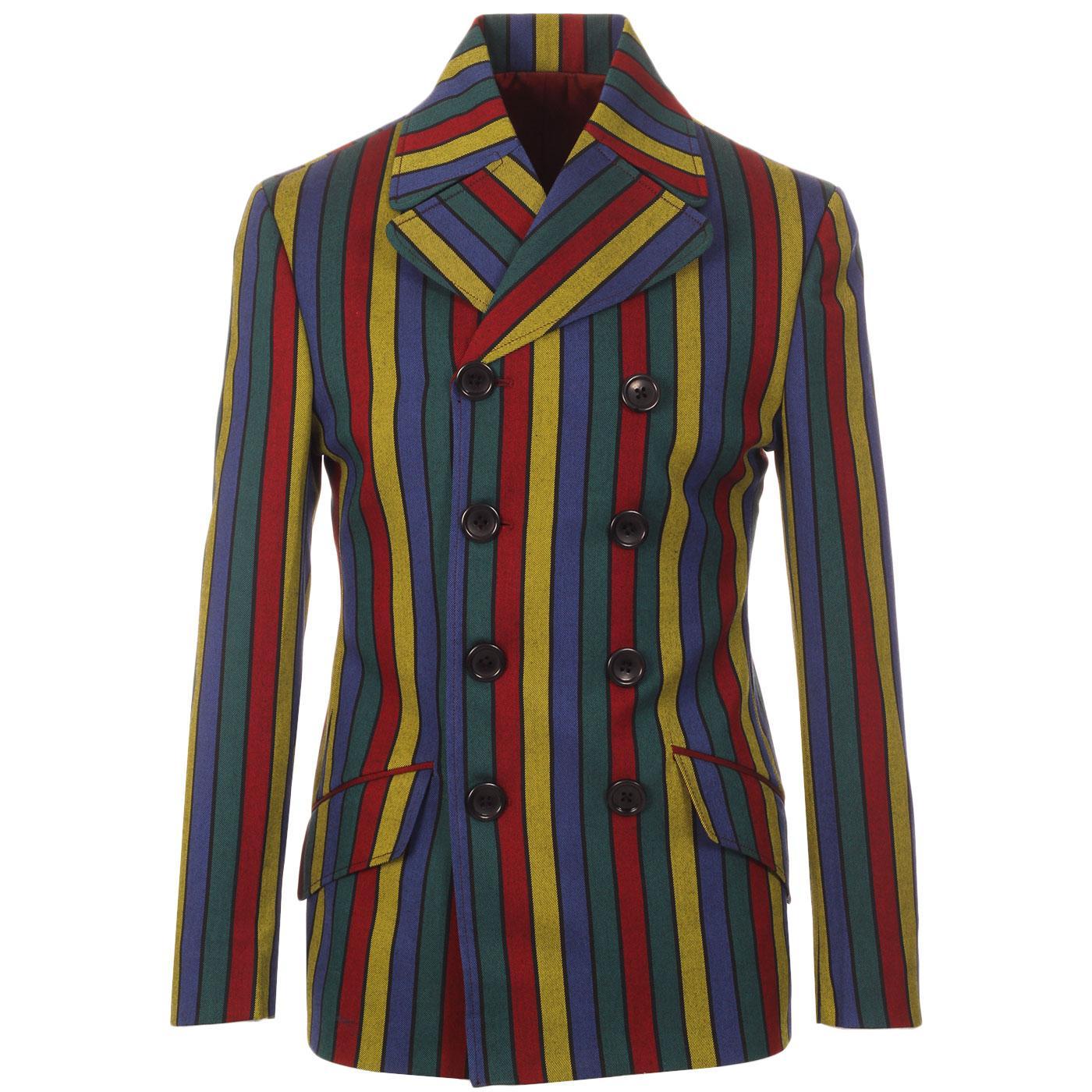 Madcap England Rare Breed Hendrix Stripe 60s Mod Double Breasted Blazer Jacket