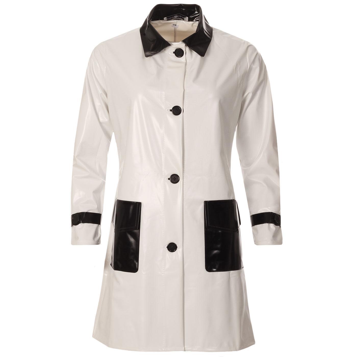 Madcap England Robin 1960s Mod Two Tone PVC Raincoat in White