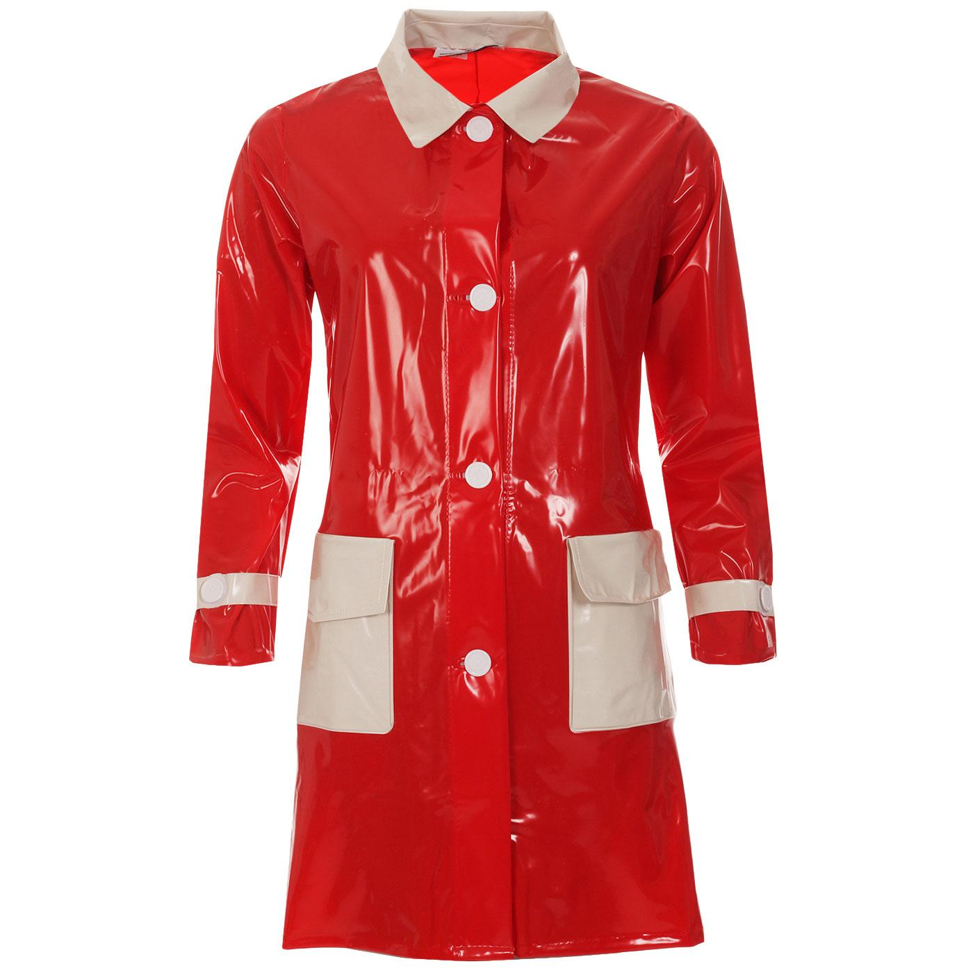 Madcap England Robin Women's 1960s Mod Plastic Raincoat in Red with White Pockets