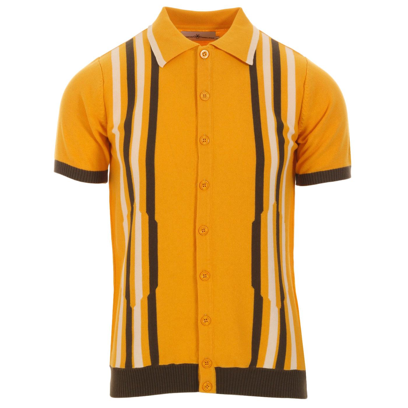 Madcap England Shockwave Men's 1960s Mod Abstract Stripe Knitted Button Through Polo Top in Amber Yellow
