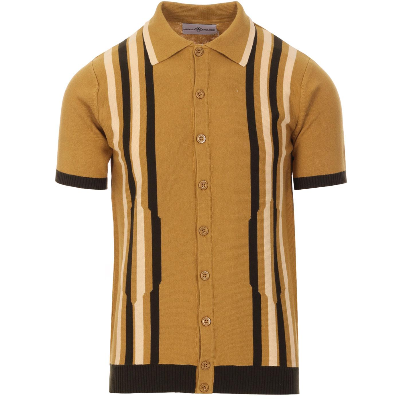 Madcap England Shockwave 60s Mod Abstract Stripe Knitted Polo Top in Bronze Mist